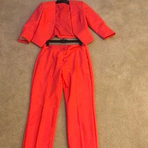 Tangerine orange- ankle pant suit